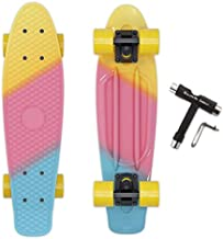 Solomone Cavalli Mini Cruiser Skateboard Complete 22 Inches Plastic Retro Board for Beginners Kids Teens Adults, with All-in-One Skate T-Tool