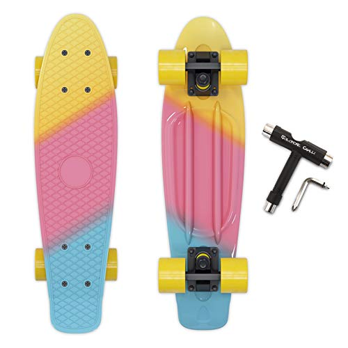 Solomone Cavalli Mini Cruiser Skateboard Complete 22 Inches Plastic Retro Board for Beginners Kids Teens Adults, with All-in-One Skate T-Tool Iowa