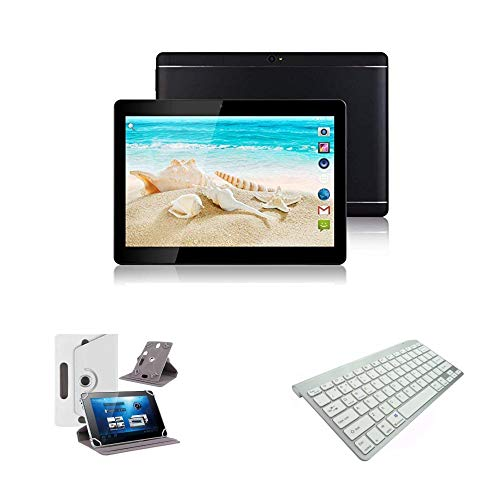 10.1' inch Android 8.0 Tablet with Leather Case and Bluetooth Keyboard (White)