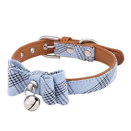 Yowablo Zughalsband Würgehalsband Hundehalskette Hunde Leder Halsbänder Schlupfhalsband Lederhalsband Haustier Kettenhalsband (22-32cm,3Blau)