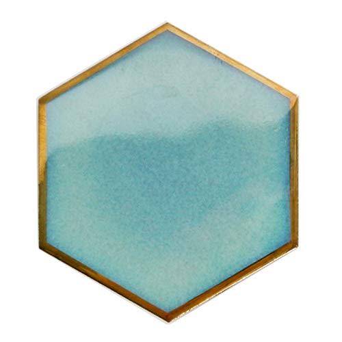 ZJY 1 unids Nordic Hexágono Placemat de cerámica Placemat de Cerámica Aislamiento de Calor Matetas de Porcelana Pads Decoración de la Mesa (Color : Green)