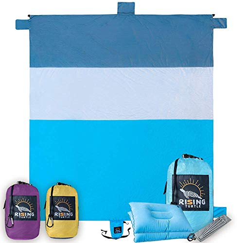 Sand Proof Beach Blanket - Extra Large 8x9', No Sand, Wind Resistant, Quick Drying, Compact Beach...