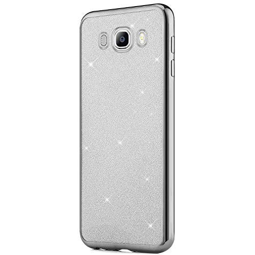 QPOLLY Brillante Cover Compatibile con Samsung Galaxy J5 2016 Bling Glitter Morbida TPU Silicone Gel Placcatura Cover Trasparente Ultra Sottile Slim Bumper Antiurto Protettiva Custodia,Argento