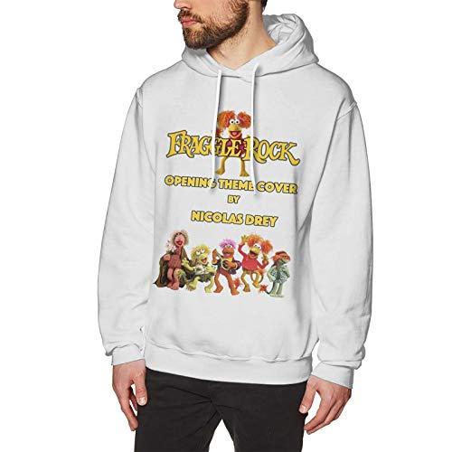 Fraggle Rock Men's Hoodies Slim Fit Long Sleeve Pullover All-Match Top Pullover Hoodie Fashion Men's Hoodie Sweatshirt White