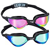 Swimming Goggles 2 Pack Goggles Adult Swimming Fog-free UV Protection Watertight Elastic Strap Silicone Seal Free Protection Case Mirrored Triathlon Swim Goggles for Adult Women Men Youth 10+ Y/O Kids