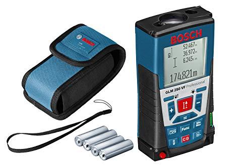 Bosch Professional Distanziometro Laser GLM 250 VF (per Ambienti Esterni, Campo di Misurazione: 0,05 – 250 M, Cinturino di Trasporto, 4 Pile a Stilo da 1,5 V, Custodia Protettiva)