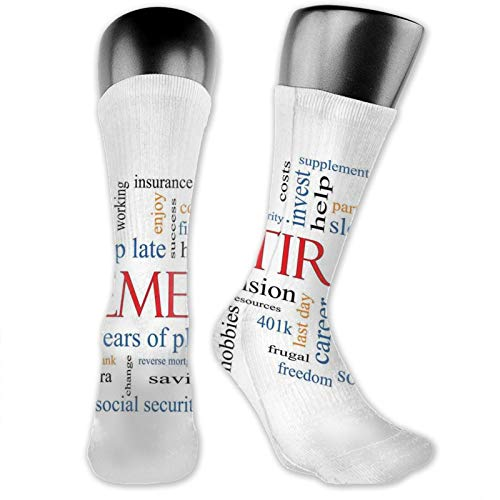 High Ankle Cotton Casual Crew Socks For Women Men,Word Cloud Concept Retirement Theme With Security Pension Savings Future