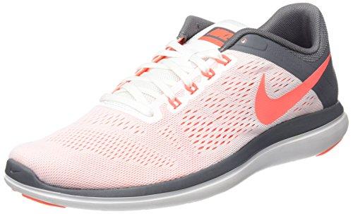 Nike Flex 2016 Run, Zapatillas de Trail Running Mujer, Blanco (White/Bright Mango/Cool Grey), 42.5 EU