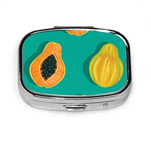 Pill Box Papaya Pattern Cute Pill Case Daily Pill Portable for Pocket Purse Briefcase Travel Pills Box
