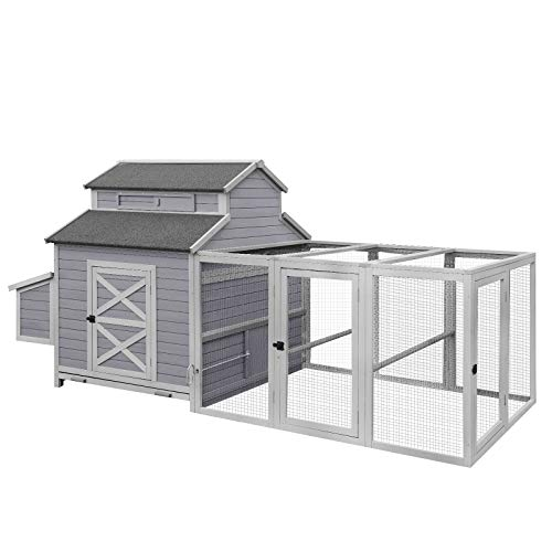 115in Chicken Coop Outdoor Large Hen House, Wooden Poultry Cage with Nesting Box, Run -4 Access Areas
