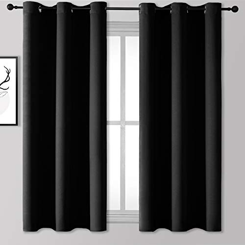 Rutterllow Blackout Curtains for Bedroom, Thermal Insulated Room Darkening Curtains 2 Panels for Living Room, Grommet Top (42x63 Inch, Black)