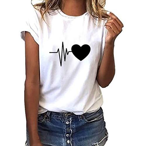SHOBDW Damen Sommer Stilvoll College Stil Lässig T Shirt Pullover Youth Frauen Elegant Brief/Feder/Herz Drucken Kurzarm O Ausschnitt Große Größe Lose Tops Shirts Bluse