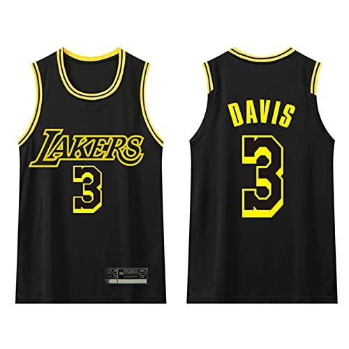 GAOXI Lakers Davis Basketball Jersey, Camiseta de Swingman de Estudiantes Transpirable sin Mangas para niños y Adultos Black-S