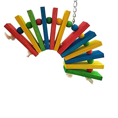 Chew Toy loro, colorido bloques de madera y perlas pájaro del animal doméstico columpio que cuelga de la jaula de la decoración por guacamayos cacatúas grises africanos periquitos cacatúas Conura