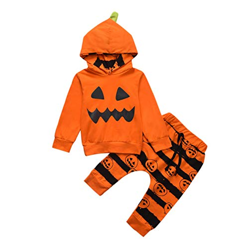 Toddler Baby Boys Clothes Outfit Cartoon Devil Hoodie Tops +Skull Pants 2pc Outfits Set Orange(3T/4T