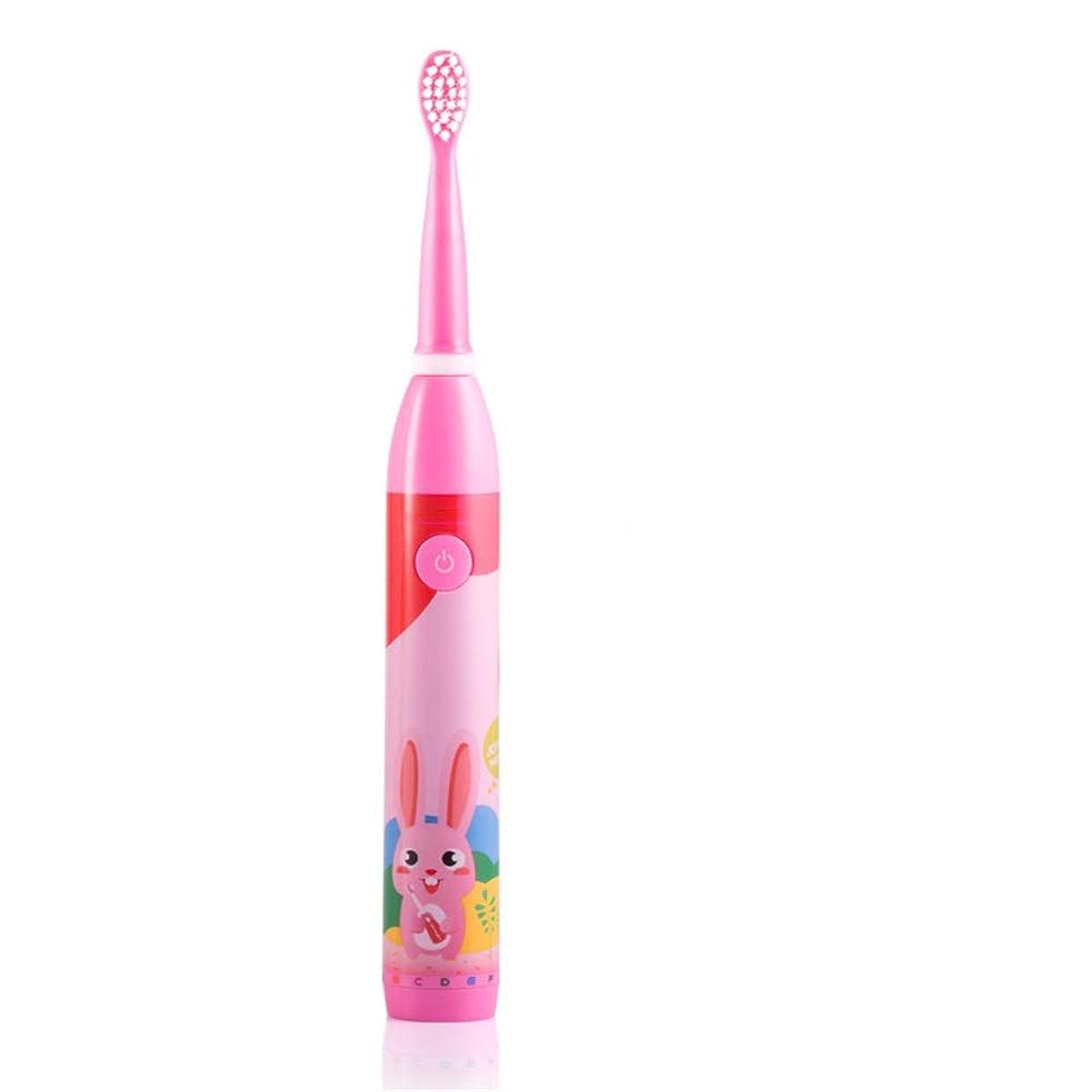 荒野修士号早い電動歯ブラシ 子供のための適切な子供の電動歯ブラシUSB充電式防水歯ブラシ日常の使用のための2-5歳 大人と子供向け (色 : ピンク, サイズ : Free size)