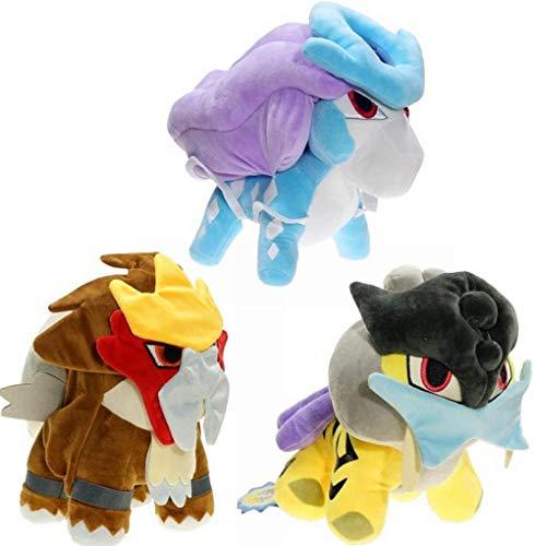 GYINK 3 Stück / Anime Pokemon Raikou Suicune Entei Plüsch 15cm Schwert und Schild Füllung Gefüllte Puppe Actionfigur Kinder