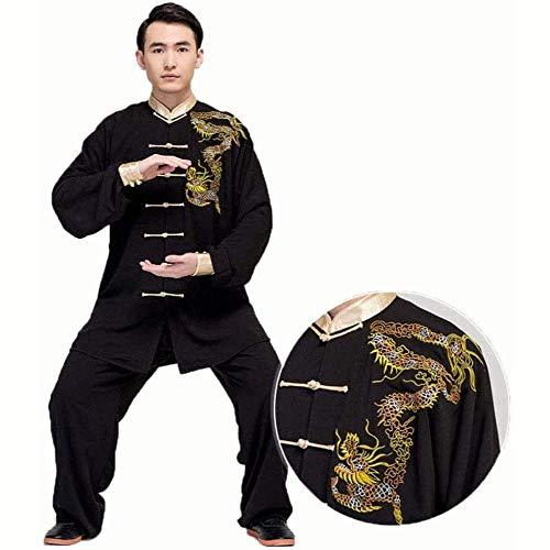 Zyl Tai Chi Traje Chino Kung Fu Ropa Traje de Algodón Mono Artes Marciales Ropa Uniforme Manga Larga Tai Chi Práctica Taekwondo Ropa Entrenamiento Unisex Negro XXL