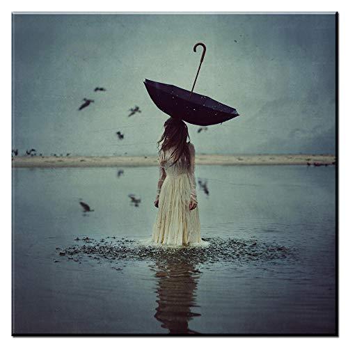 Moderne Canvas Art Mooi Meisje In Water Met Paraplu Vogels Canvas Schilderij Foto Wall Art Schilderijen Voor Thuis Woonkamer Slaapkamer 50x50 cm Geen Frame