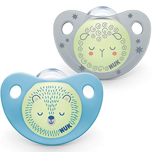 NUK Night & Day Baby Schnuller, 0-6 Monate, leuchtet im Dunkeln, BPA-freies Silikon, Blau, 2 Stück