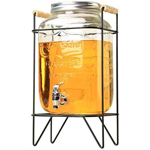 LENSHUI 2.1 Gallon Jedes Glas Getränke Getränkeautomaten mit Metallständer - for Wasser-Saft-Bier Wein Alkohol Kombucha Punsch Home Bar & Party Servierware (Color : with Metal Shelf, Size : 8L)