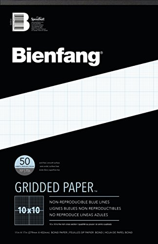 Bienfang Designer Grid Paper Pad, 10 x 10 Cross Section, 11-Inch by 17-Inch, 50 Sheets