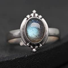 Luna Azure Sterling Silver Moonstone Engraved Vintage Adjustable Ring (JJ01-JZ0013A) #1