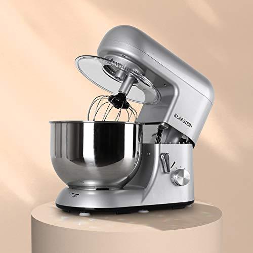 Klarstein Bella Argentea - Robot de cocina - Batidora, Amasadora, 1200 W,...