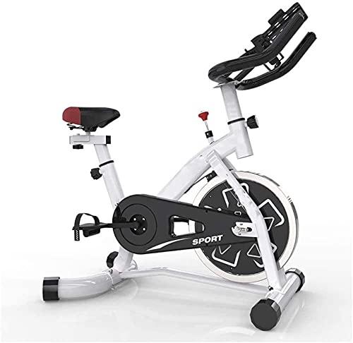 DJDLLZY Bicicleta de Spinning de Interior Bicicleta fija accionado por correa cubierta con la bicicleta silenciosa del volante y la bicicleta estática con el soporte, ajustable con manillar, convenien