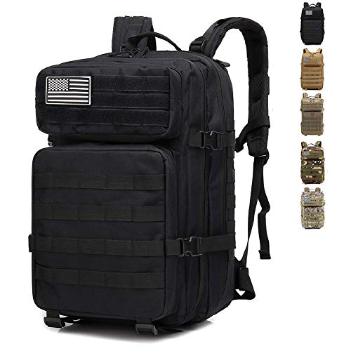 BBYaki 40L Militaire Assaut Camouflage Sac Dos, Molle Sac Dos Tactique Alpinisme Sac À Dos Randonnée Activités en Plein Air Camping,Noir