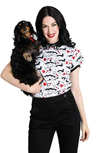 Hell Bunny Smoky Dog Hearts 1940's 1950's Blouse, Off-white, X-Small