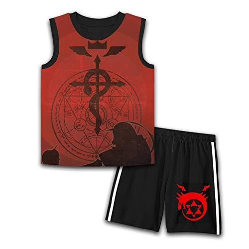 Conjunto de duas peças Fullmetal-Alchemist Teens Summer Clothe para meninos e meninas, camiseta moderna sem mangas e shorts, Preto, G