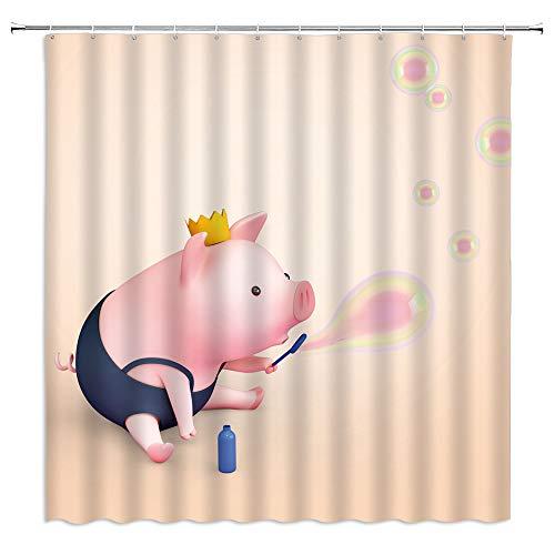 Süßes Schweinchen-Duschvorhang, niedliches Tier, lustiges kleines Schwein, bunte Blasen für Kinder, Stoff-Badezimmerdekor-Set mit 12 Haken, 180 x 180 cm, rosa Buff