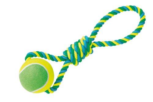 Nobby Corde en Cotton 45 cm/600 g avec Poigné/Balle de Tennis pour Chien 13 cm