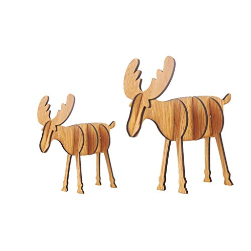 Iusun 2PC Wooden DIY Mini Elk Tabletop Merry Christmas Decoration Ornaments Birthday Present Bedroom Desk Scene Dress Up Decor for Home Office Supplies Gift Box (C)