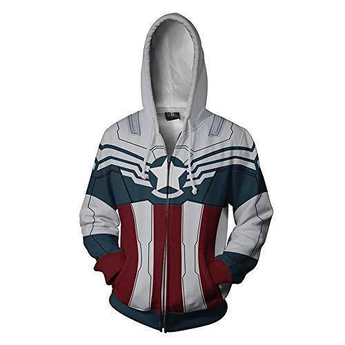 Wild WY Veste à Capuche Avengers Endgame Captain America pour Hommes Superhero Quantum Realm Sweatshirt Grey-XXL