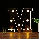 HONPHIER® Letras luces alfabeto lámpara LED carta iluminación letras iluminadas Nachtlichter decoración para cumpleaños Party bodas guarderías (M)