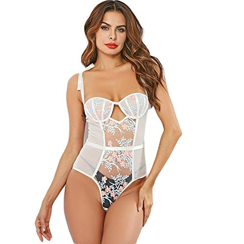 Reizwäsche Erotik White Lace Bodysuit Sexy Dessous One Piece Stickerei Patchwork Body Suit Für Frauen Mädchen Fishnet Sheer Bodysuit Erotic-White_L