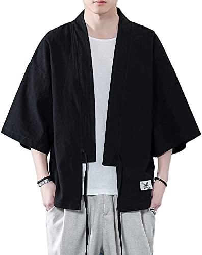 Chaqueta Kimono japonesa para hombre suelta manga 3/4 Rebeca frontal abierta ropa exterior Yukata con cierre de cordón (Black,S)