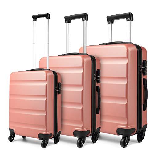 Kono Maleta para Equipaje de Cabina Ligera Trolley de ABS con Ruedas de 55 x 38 x 20 cm (Rosa Oro, Set(S/M/L))