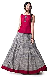Beige & Maroon Top with Embroidery Circular Skirt Set