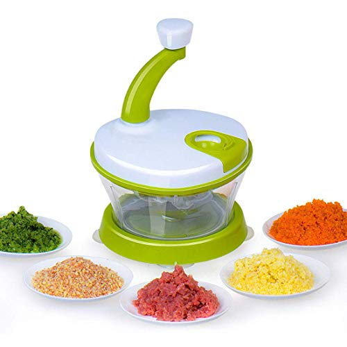 FEE-ZC Handmatige keukenmachine, veiligheid hand chopper groente chopper, uien, knoflook, vlees, noten 3 gebogen roestvrijstalen messen, met anti-slip basis, groen