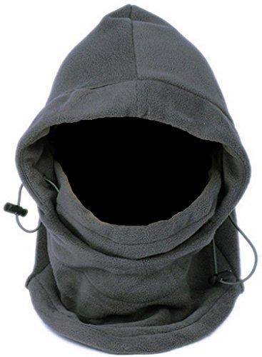 Lukis 6 in 1 Thermal Fleece Balaclava Hood Skimaske Mütze Sturmhaube Windmaske Schlupfmütze Fleece Sturmhaube (Grau)
