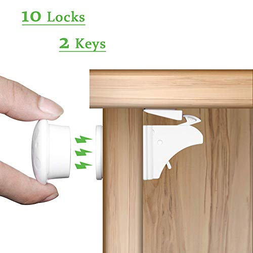 Child Safety Magnet Locks (10 Locks + 2 Keys), Best Baby Proofing Lock for Kitchen Cabinet, Drawer, Cupboard - No Tool or Drill with 3M Adhesive, Cabinets Door Locking, Magnetic Latches Kit