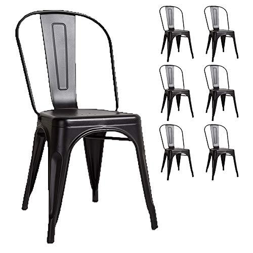 Kosmi - Lot de 6 Chaises Noires en métal Noir Mat Style Industriel Factory