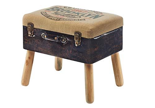 Kofferhocker Hocker Polsterhocker - Leinen und Kunstleder - Braun - 50x36x45 cm