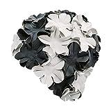 Fashy Negro - Gorro de baño de natación, tamaño único, Color Negro/Blanco