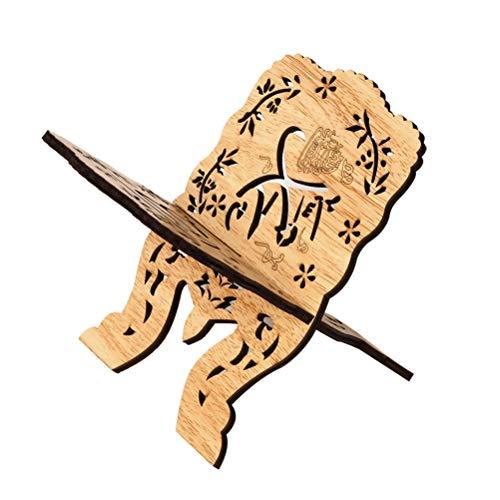 Amosfun - Soporte plegable de madera para libro sagrado kuran con la Biblia, soporte para mesa o decoración