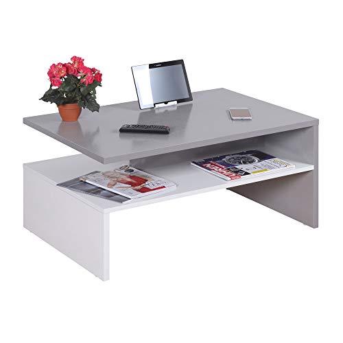 RICOO WM080-W-PL Kleiner Tisch 90 x 60 x 42 cm Holz Hell Weiß und Platin Hell-Grau Fernseher TV Wohnzimmer-Tisch Couch-Tisch mit Stauraum