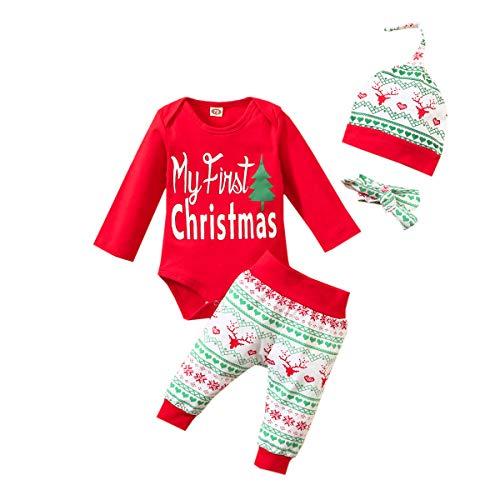 Bravoy Weihnachten Baby Junge Kleidung Set My First Christmas Druck Langarm Strampler Top Hirsche Druck Hose Mütze Babyset Outfits (Rot, 9-12 Monate)